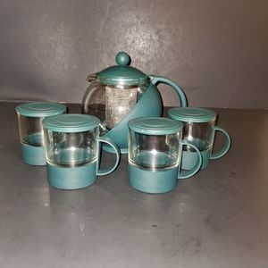 Vintage Bubble Round Tea Set Pot with 4 Glasses